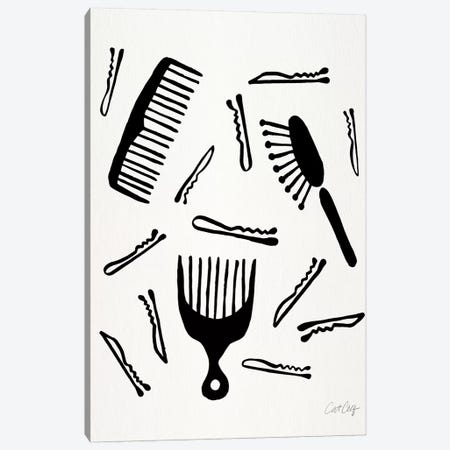Good Hair Day, Black Canvas Print #CCE308} by Cat Coquillette Canvas Wall Art