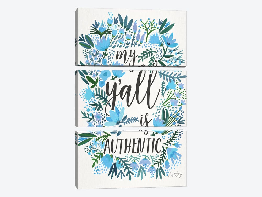My Y'all Is Authentic III by Cat Coquillette 3-piece Canvas Art Print