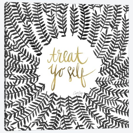 Treat Yo Self, Black 3-Piece Canvas #CCE310} by Cat Coquillette Canvas Print