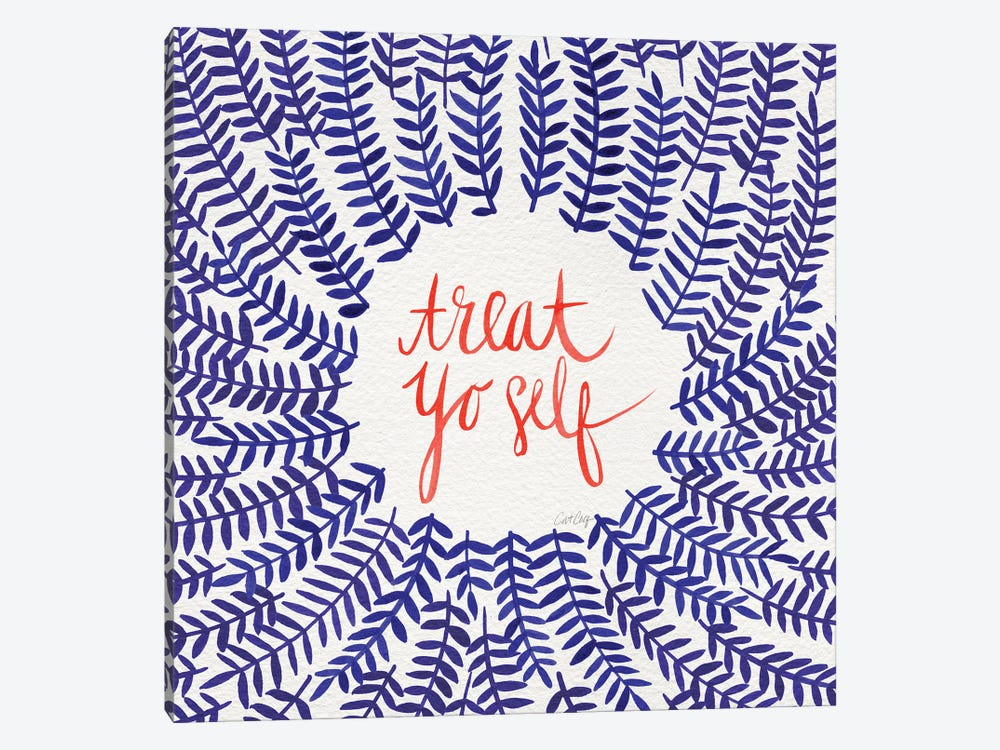 Treat Yo Self, Coral & Navy by Cat Coquillette 1-piece Canvas Wall Art