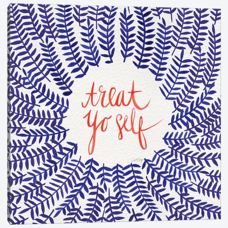 Treat Yo Self, Coral & Navy Canvas Print #CCE311} by Cat Coquillette Canvas Print