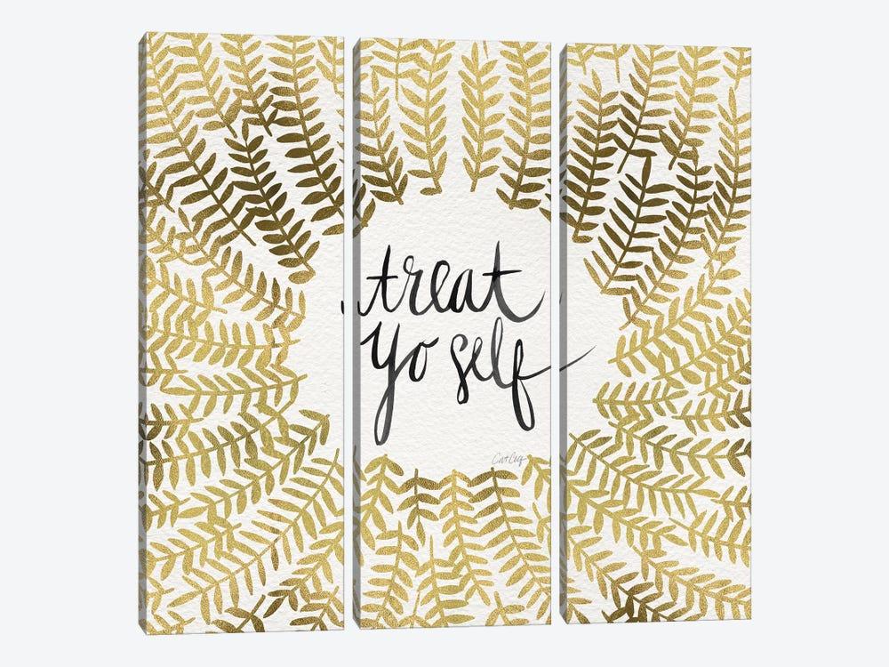 Treat Yo Self, Gold by Cat Coquillette 3-piece Canvas Art Print