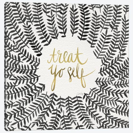 Treat Yo Self, Grey Canvas Print #CCE313} by Cat Coquillette Canvas Print
