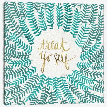 Treat Yo Self, Mint Canvas Print #CCE314} by Cat Coquillette Canvas Wall Art