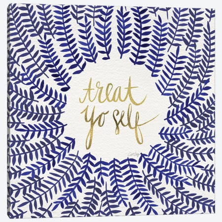 Treat Yo Self, Navy Canvas Print #CCE315} by Cat Coquillette Canvas Artwork