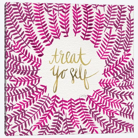 Treat Yo Self, Pink Canvas Print #CCE316} by Cat Coquillette Canvas Wall Art
