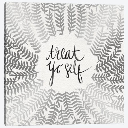 Treat Yo Self, Silver Canvas Print #CCE317} by Cat Coquillette Canvas Art