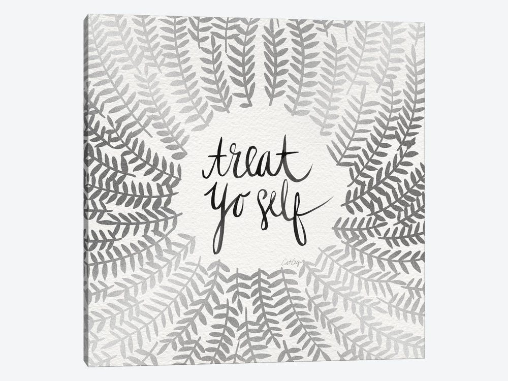 Treat Yo Self, Silver 1-piece Canvas Wall Art