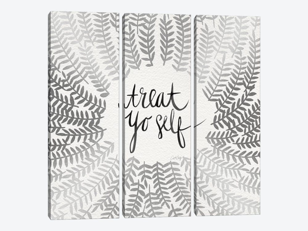 Treat Yo Self, Silver 3-piece Canvas Wall Art