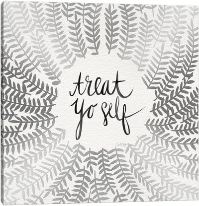 Treat Yo Self, Silver Canvas Art Print