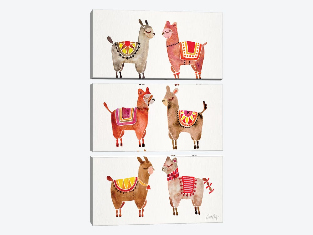 Alpacas by Cat Coquillette 3-piece Canvas Print