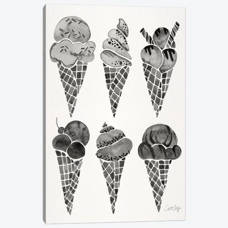 Black Ice Cream Cones Canvas Print #CCE324} by Cat Coquillette Canvas Art Print