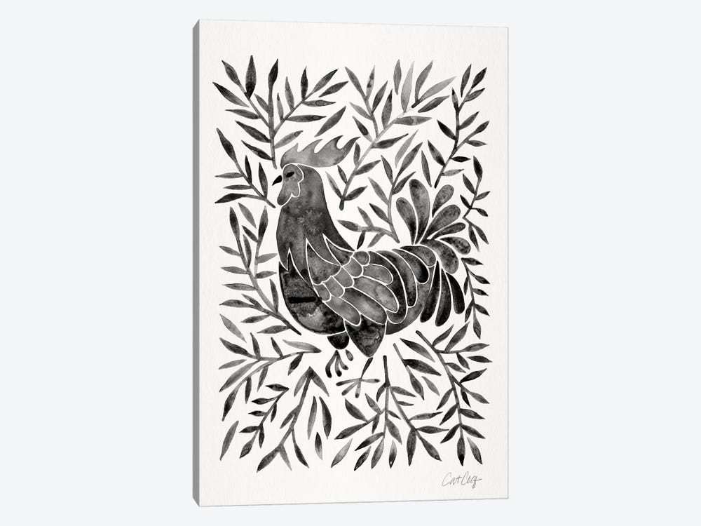 Black Rooster by Cat Coquillette 1-piece Canvas Art Print