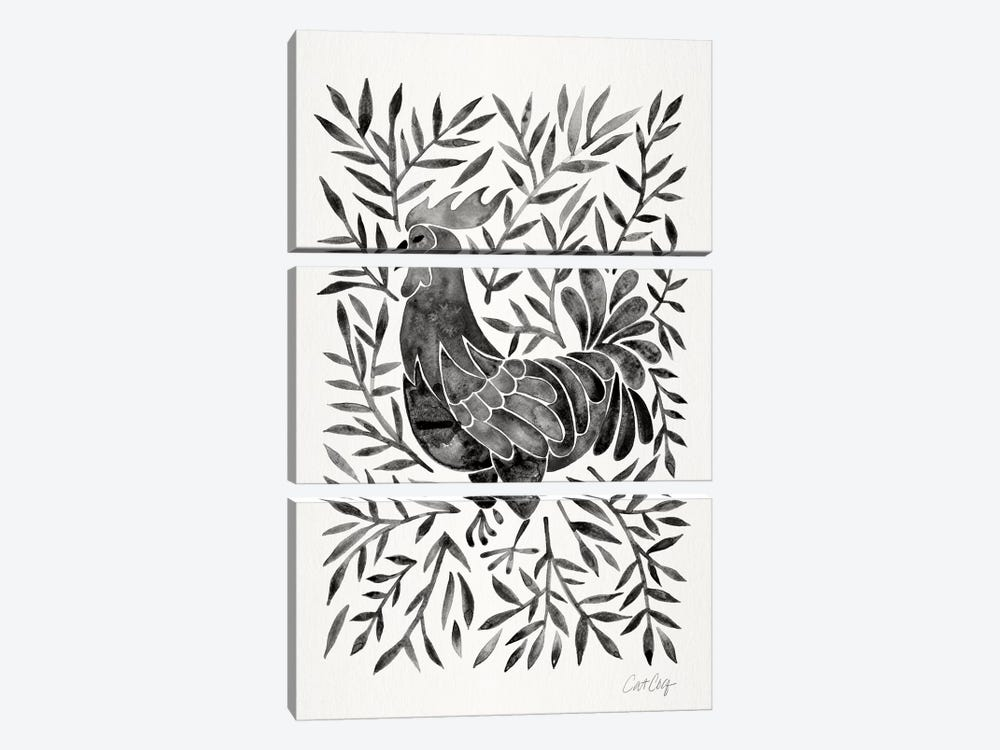 Black Rooster by Cat Coquillette 3-piece Canvas Print
