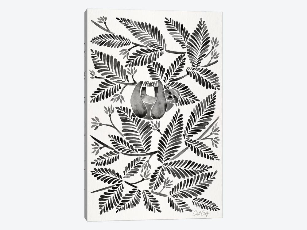Black Sloth by Cat Coquillette 1-piece Canvas Print
