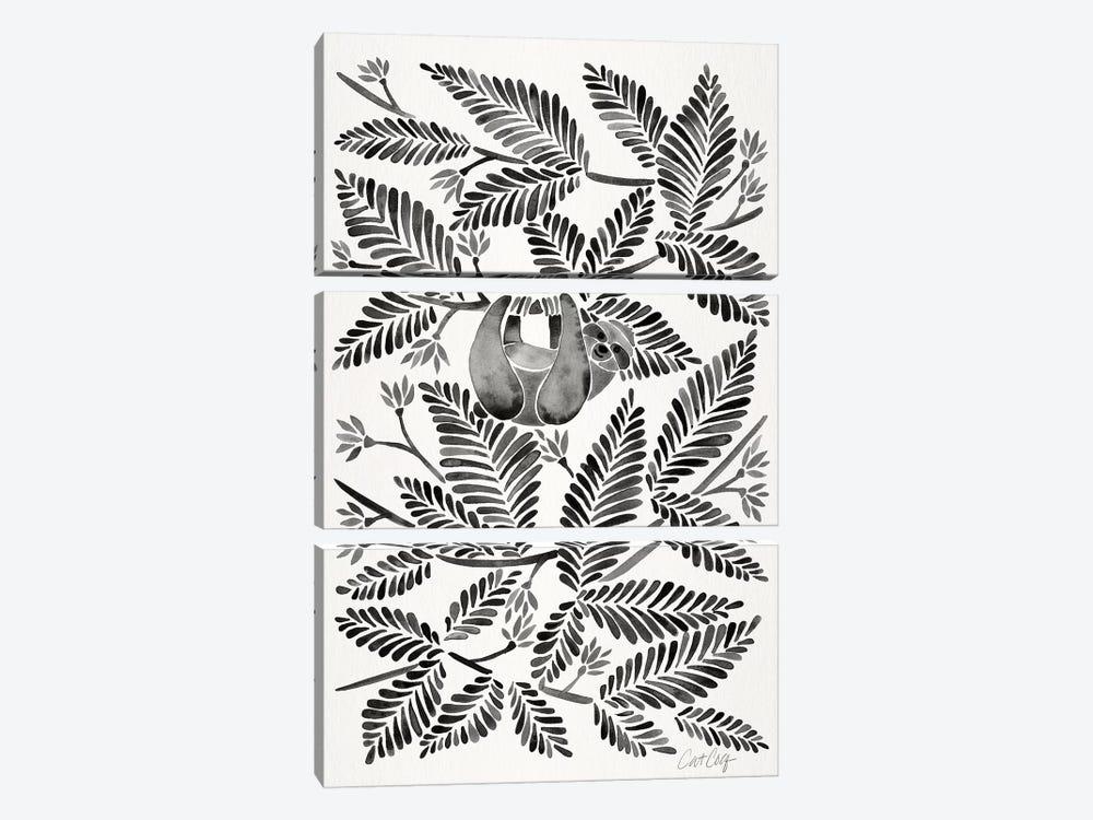 Black Sloth by Cat Coquillette 3-piece Canvas Art Print