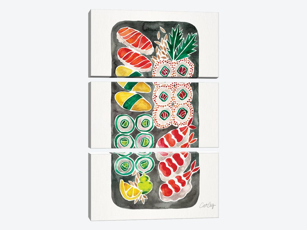 Black Sushi by Cat Coquillette 3-piece Canvas Print