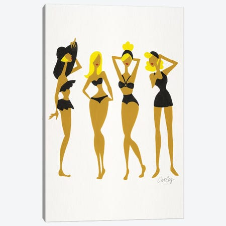Blondes In Black Beach Bombshells 3-Piece Canvas #CCE333} by Cat Coquillette Canvas Print