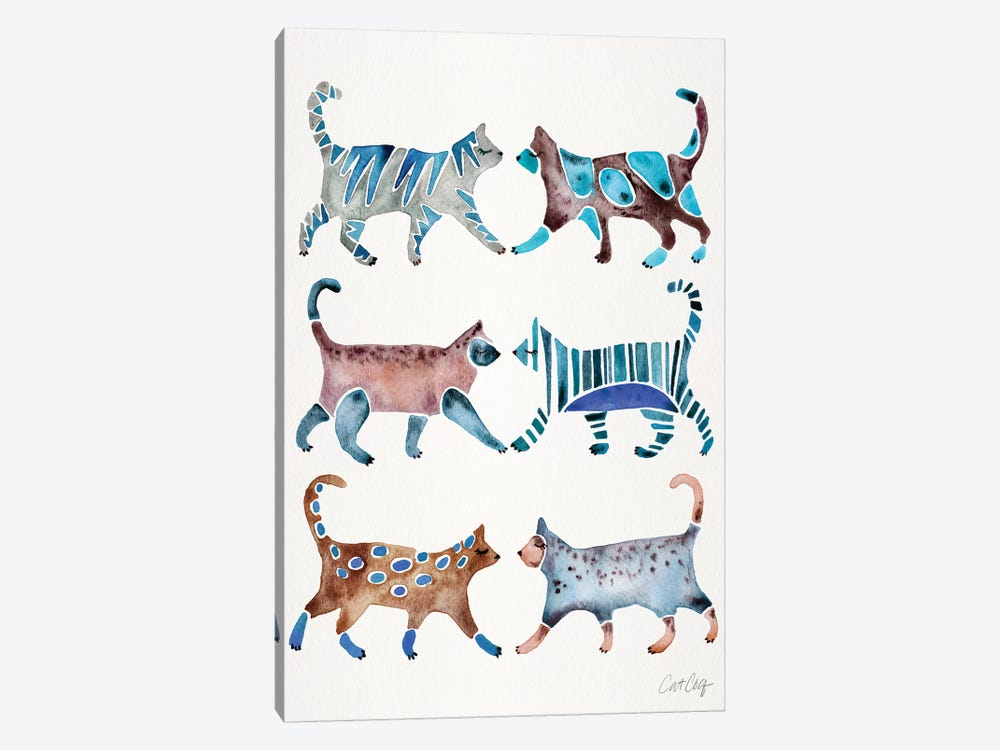 Blue & Brown Cat Collection by Cat Coquillette 1-piece Canvas Artwork