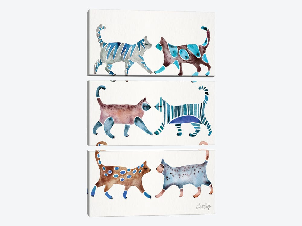 Blue & Brown Cat Collection by Cat Coquillette 3-piece Canvas Artwork