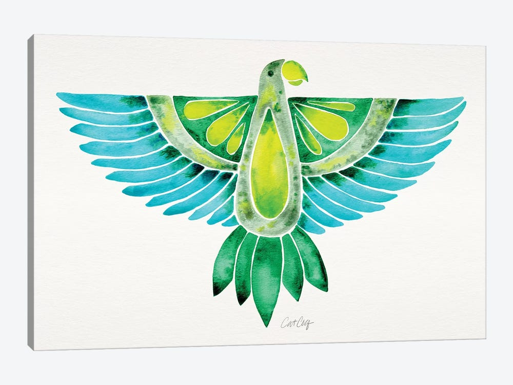 Blue & Green Parrot by Cat Coquillette 1-piece Art Print