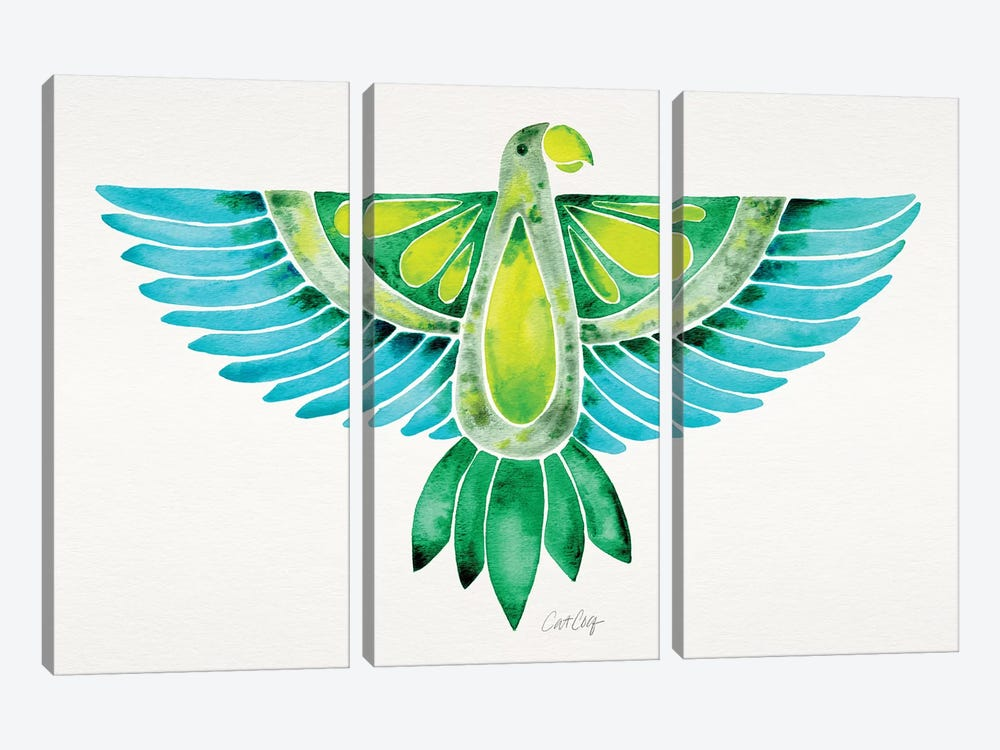 Blue & Green Parrot by Cat Coquillette 3-piece Art Print