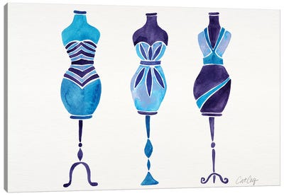 Blue 3 Dresses Canvas Art Print