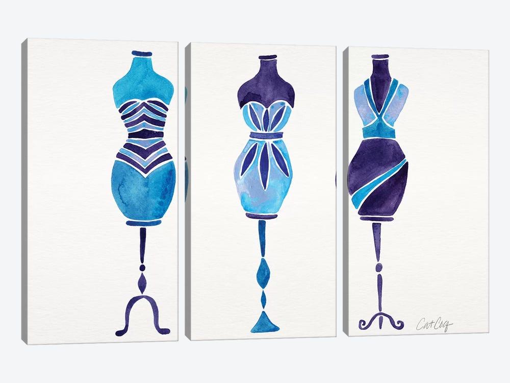 Blue 3 Dresses by Cat Coquillette 3-piece Canvas Art