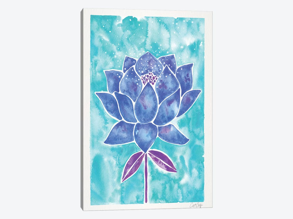Blue Background Lotus Blossom by Cat Coquillette 1-piece Art Print