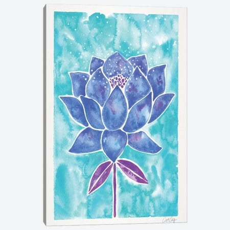 Blue Background Lotus Blossom 3-Piece Canvas #CCE338} by Cat Coquillette Canvas Print