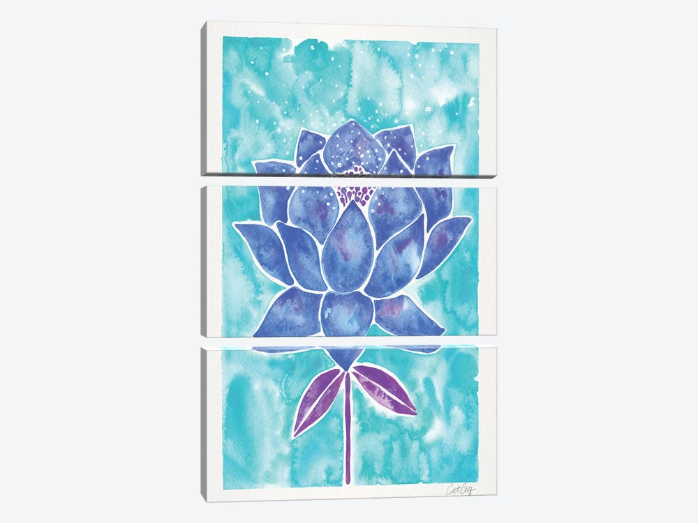 Blue Background Lotus Blossom by Cat Coquillette 3-piece Canvas Art Print