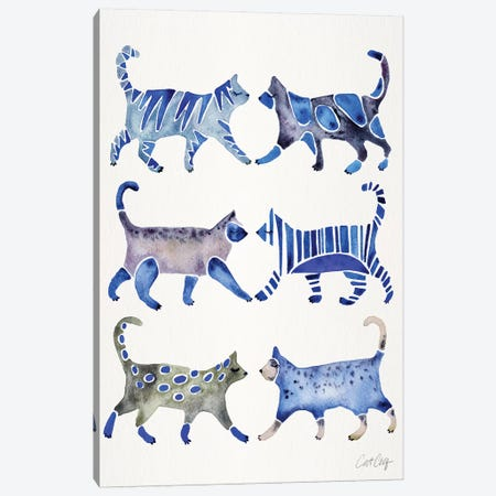 Blue Cat Collection 3-Piece Canvas #CCE340} by Cat Coquillette Canvas Art
