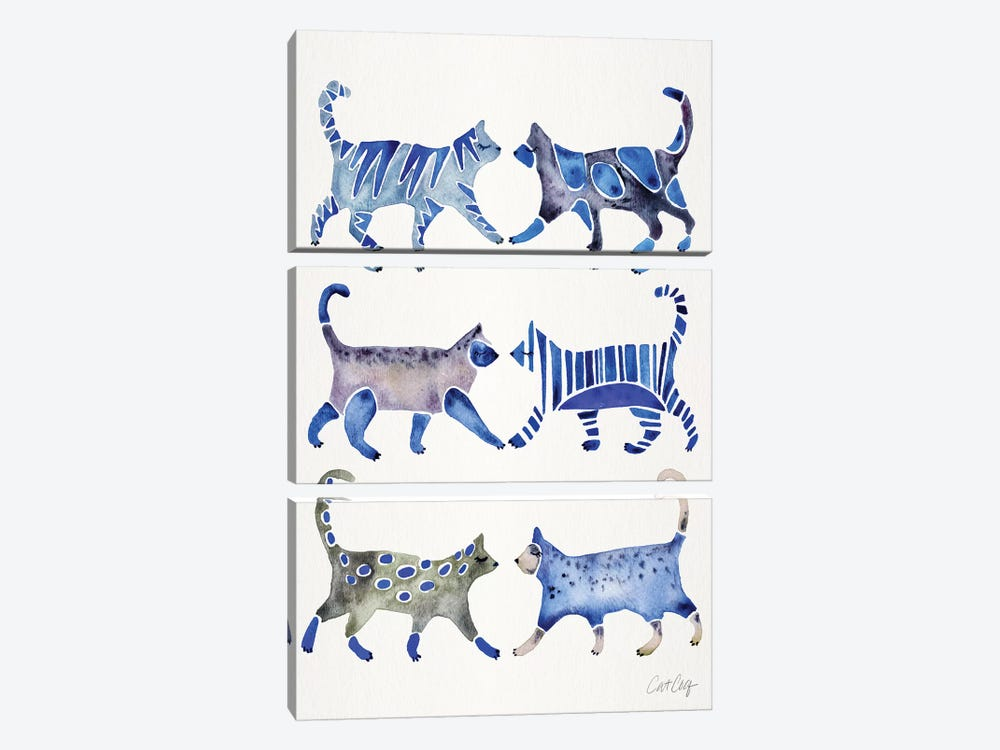 Blue Cat Collection by Cat Coquillette 3-piece Canvas Artwork