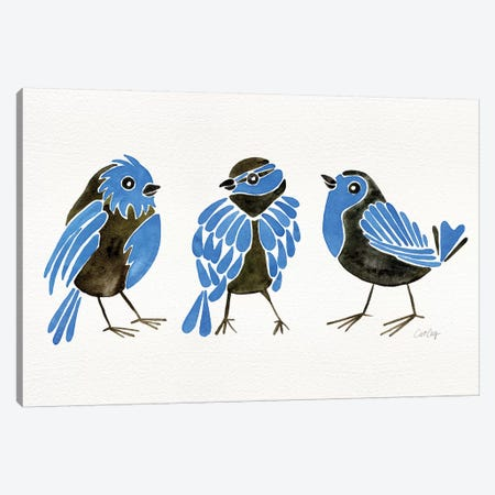 Blue Finches Canvas Print #CCE341} by Cat Coquillette Canvas Artwork