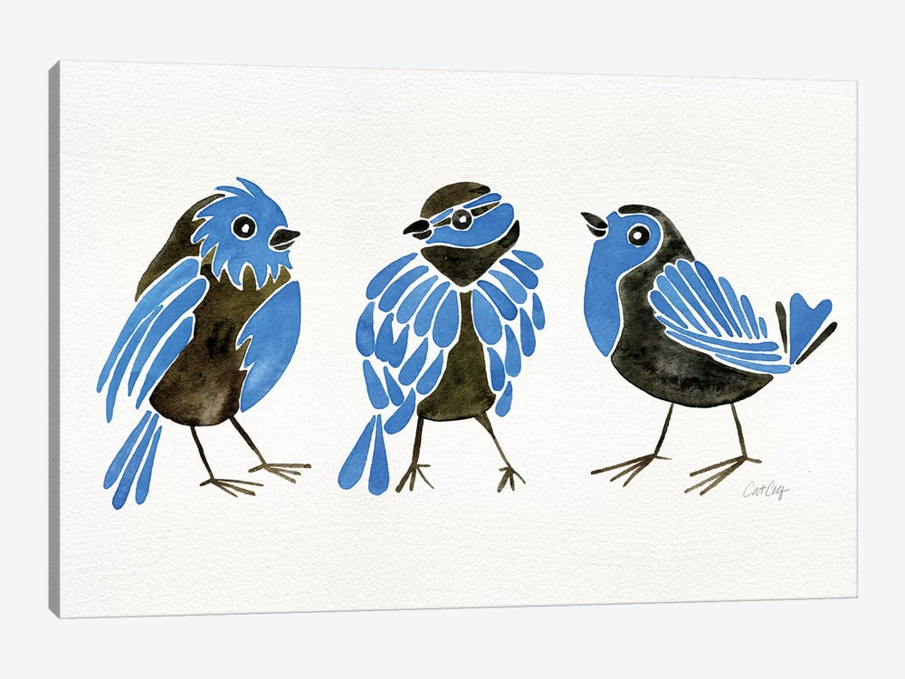 Blue Finches by Cat Coquillette 1-piece Canvas Print
