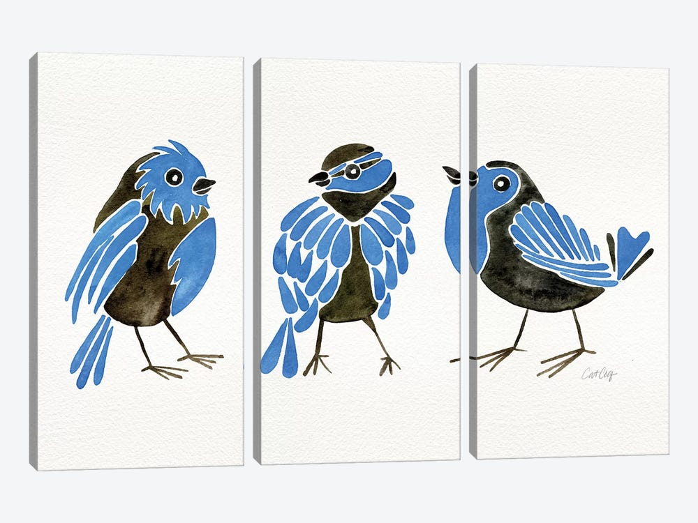 Blue Finches by Cat Coquillette 3-piece Art Print