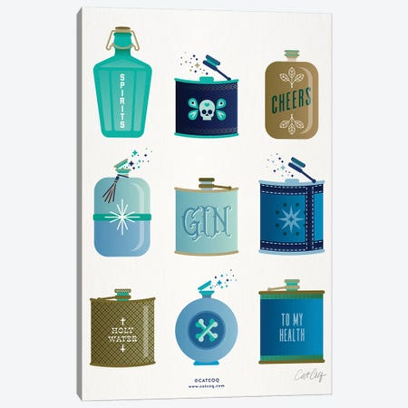 Blue Flasks Canvas Print #CCE342} by Cat Coquillette Canvas Art