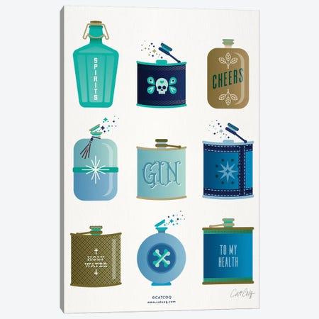 Blue Flasks Canvas Print #CCE342} by Cat Coquillette Canvas Art