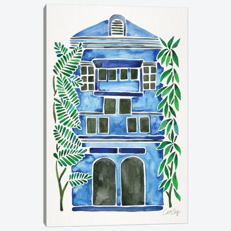 Blue House Canvas Print #CCE343} by Cat Coquillette Canvas Artwork