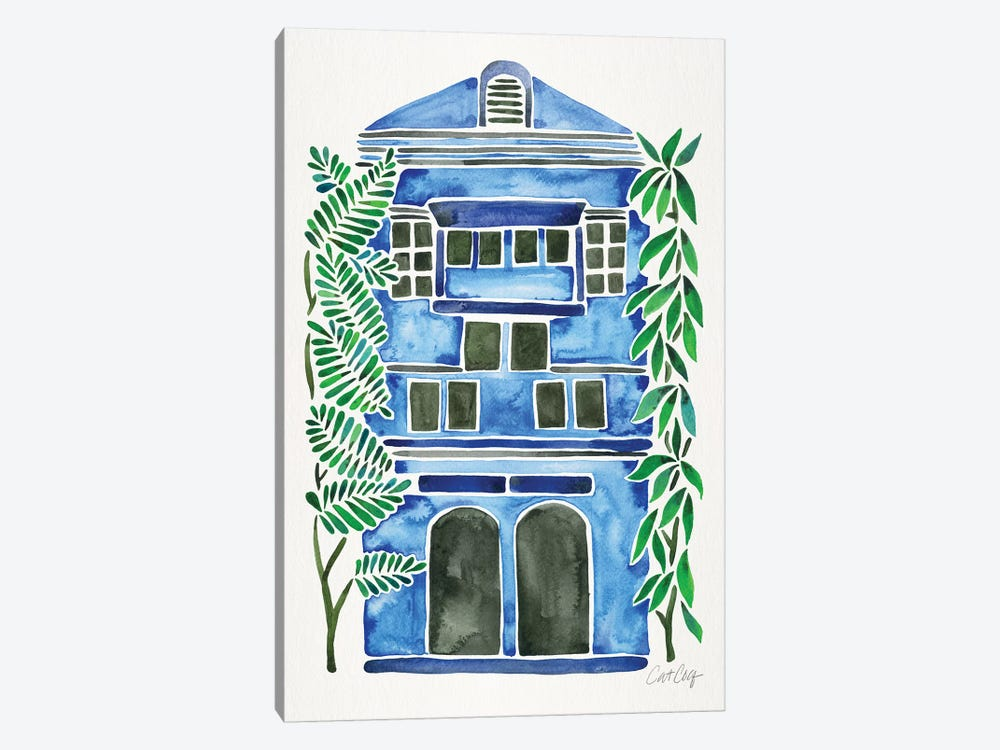 Blue House by Cat Coquillette 1-piece Canvas Art Print