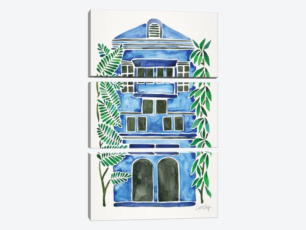 Blue House by Cat Coquillette 3-piece Canvas Art Print