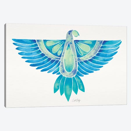 Blue Ombré Parrot Canvas Print #CCE344} by Cat Coquillette Canvas Art Print