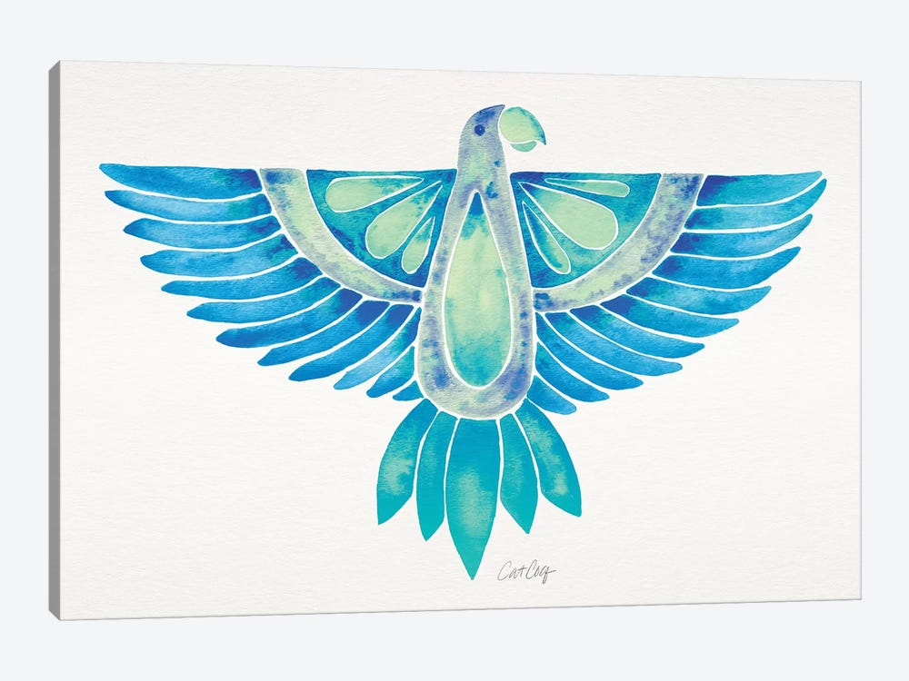 Blue Ombré Parrot by Cat Coquillette 1-piece Canvas Artwork