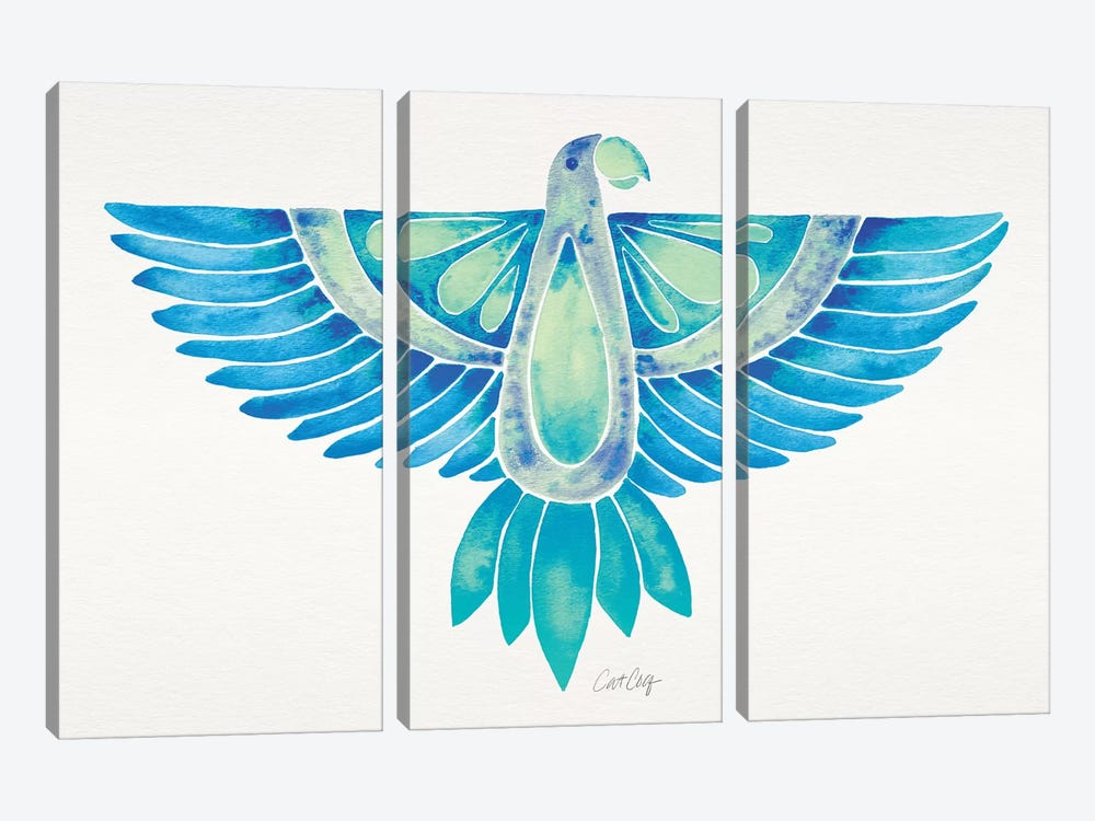 Blue Ombré Parrot by Cat Coquillette 3-piece Canvas Wall Art