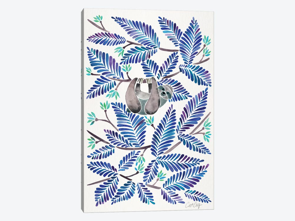Blue Sloth by Cat Coquillette 1-piece Canvas Artwork