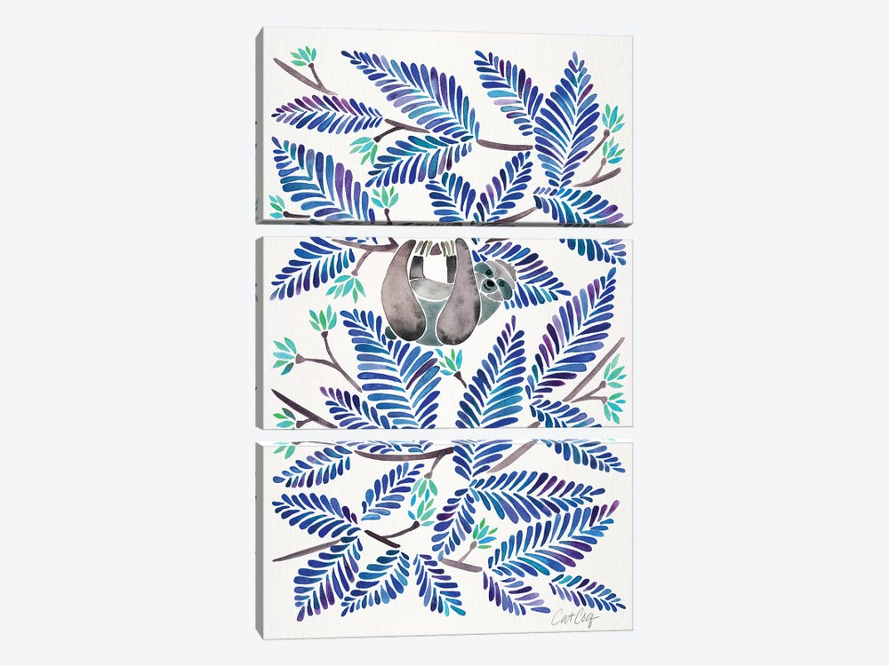 Blue Sloth by Cat Coquillette 3-piece Canvas Wall Art
