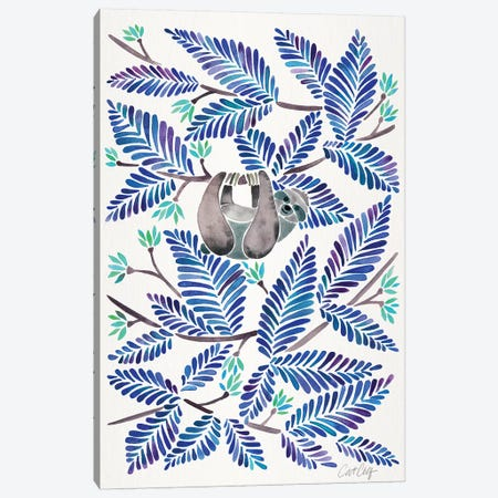 Blue Sloth 3-Piece Canvas #CCE346} by Cat Coquillette Canvas Art Print