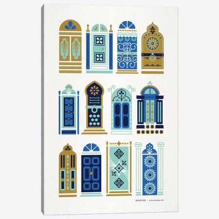 Blue Tan Doors Canvas Print #CCE347} by Cat Coquillette Art Print