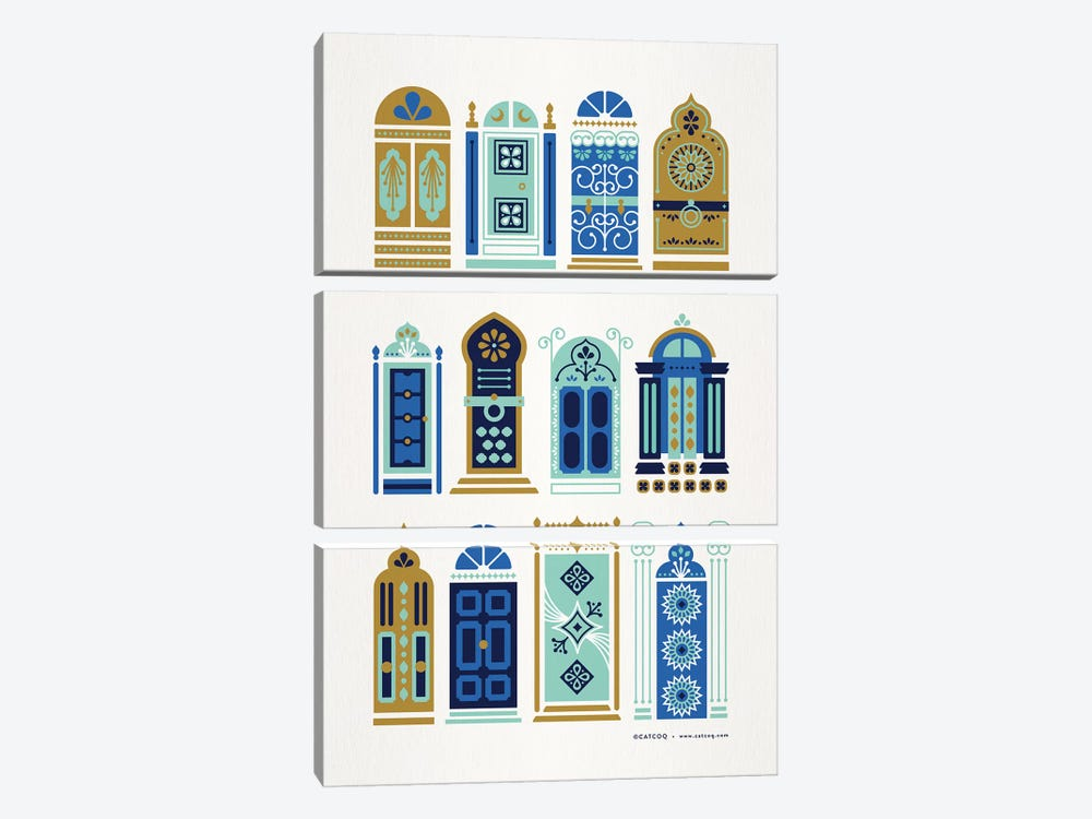 Blue Tan Doors by Cat Coquillette 3-piece Canvas Print