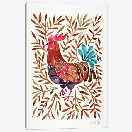 Brown Leaves Rooster Canvas Print #CCE351} by Cat Coquillette Art Print